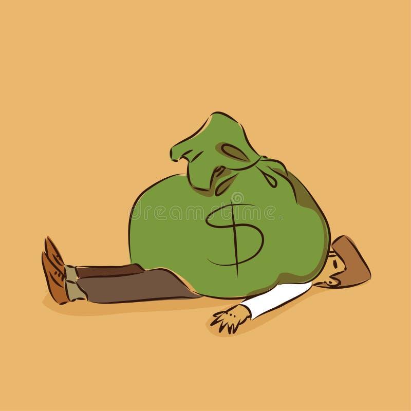 Η τσάντα χρημάτων αυξάνεται το πλούσιο διανυσματικό ζωηρόχρωμο doodle απεικόνισης διανυσματική απεικόνιση