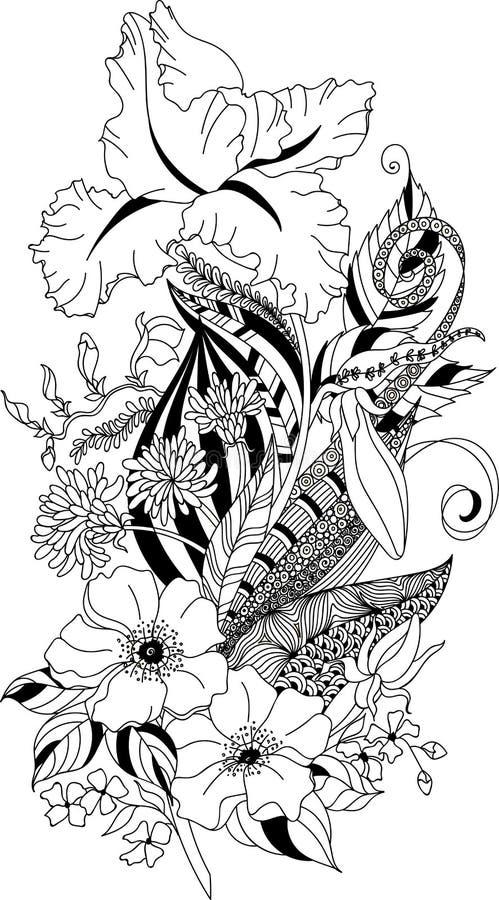 Η τυποποιημένη απεικόνιση του χρωματισμού του φτερού με την ίριδα και του χρυσάνθεμου στη σύγχυση doodle ορίζει διανυσματική απεικόνιση