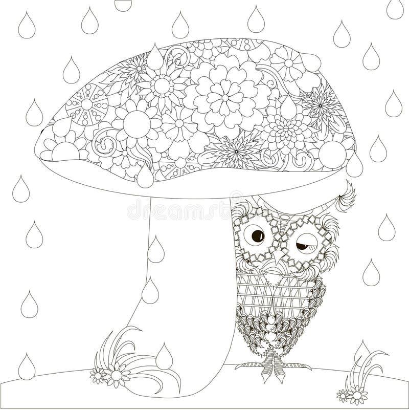 Η τυποποιημένη μονοχρωματική κουκουβάγια κρύβει κάτω από το μανιτάρι από τη βροχή διανυσματική απεικόνιση
