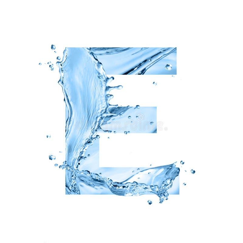 Η τυποποιημένη πηγή, κείμενο φιαγμένο από παφλασμούς νερού, κεφαλαίο γράμμα ε, είναι στοκ εικόνες