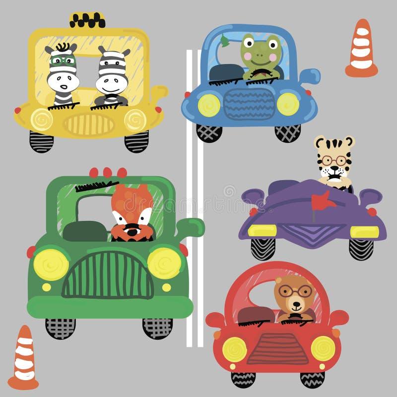 Η τυπωμένη ύλη με τα αστεία αυτοκίνητα και τα χαριτωμένα ζώα αντέχουν, με ραβδώσεις, βάτραχος, τίγρη, αλεπού διανυσματική απεικόνιση