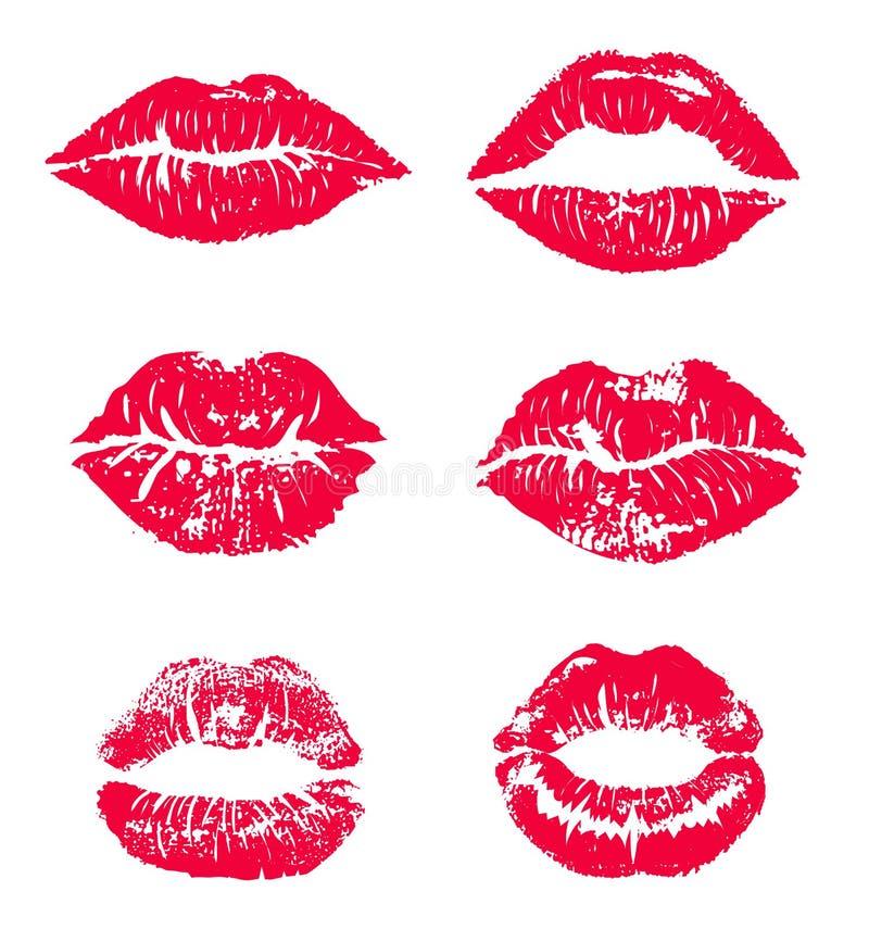 Η τυπωμένη ύλη φιλιών κραγιόν απομόνωσε το διανυσματικό σύνολο κόκκινα διανυσματικά χείλια καθορισμένα Διαφορετικές μορφές των θη διανυσματική απεικόνιση