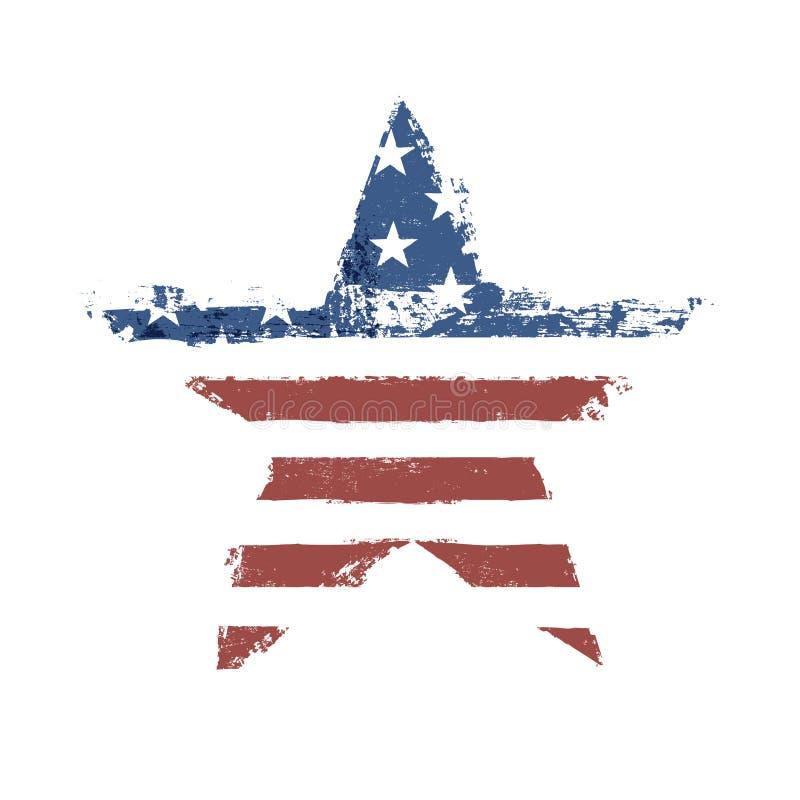 Η τυπωμένη ύλη αμερικανικών σημαιών ως διαμορφωμένο αστέρι σύμβολο. διανυσματική απεικόνιση