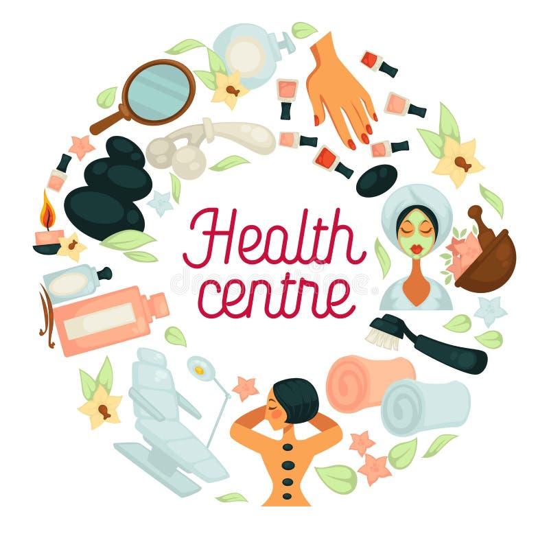 Η υγεία και αφίσα σαλονιών SPA η κεντρική για το σώμα χαλαρώνουν και τη θεραπεία γυναικών skincare διανυσματική απεικόνιση