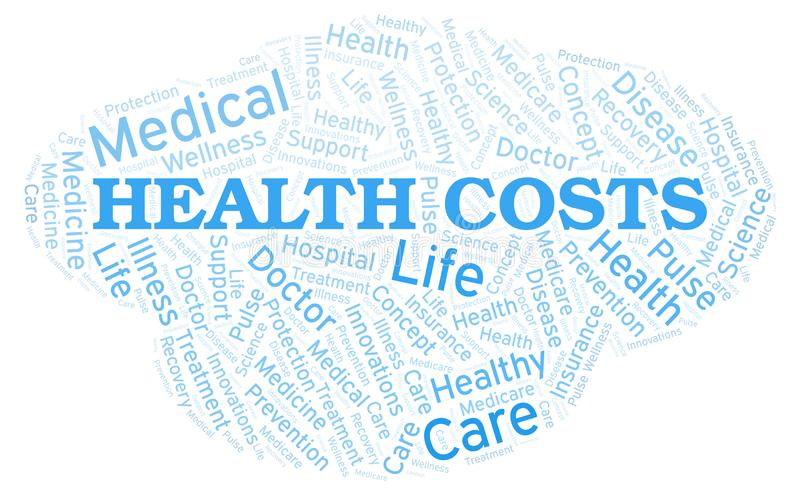 Η υγεία κοστίζει το σύννεφο λέξης απεικόνιση αποθεμάτων