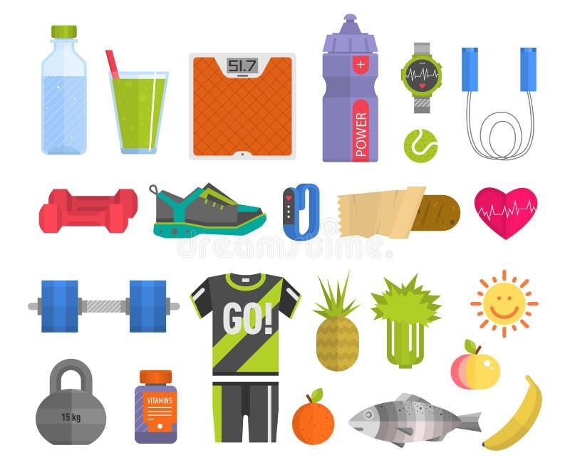 Η υγιής έννοια τρόπου ζωής με το wellness ιατρικής εικονιδίων άσκησης συμβόλων και αθλητισμού καρδιών ικανότητας τροφίμων εγκατέσ ελεύθερη απεικόνιση δικαιώματος