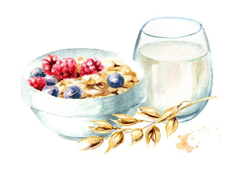 Η υγιής βρώμη προγευμάτων ξεφλουδίζει το muesli με τα σμέουρα και τα βακκίνια και ένα ποτήρι του γάλακτος Συρμένη χέρι απεικόνιση ελεύθερη απεικόνιση δικαιώματος