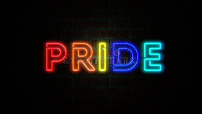 Η υπερηφάνεια λέξης με LGBT χρωματίζει το τρεμούλιασμα στο τουβλότοιχο διανυσματική απεικόνιση