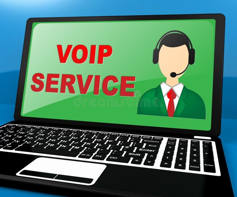 Η υπηρεσία Voip παρουσιάζει στη βοήθεια Διαδικτύου τρισδιάστατη απεικόνιση διανυσματική απεικόνιση