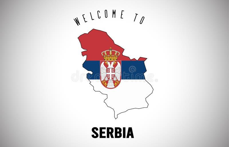 Η υποδοχή της Σερβίας στο κείμενο και η χώρα σημαιοστολίζουν μέσα στο διανυσματικό σχέδιο χαρτών συνόρων χώρας ελεύθερη απεικόνιση δικαιώματος