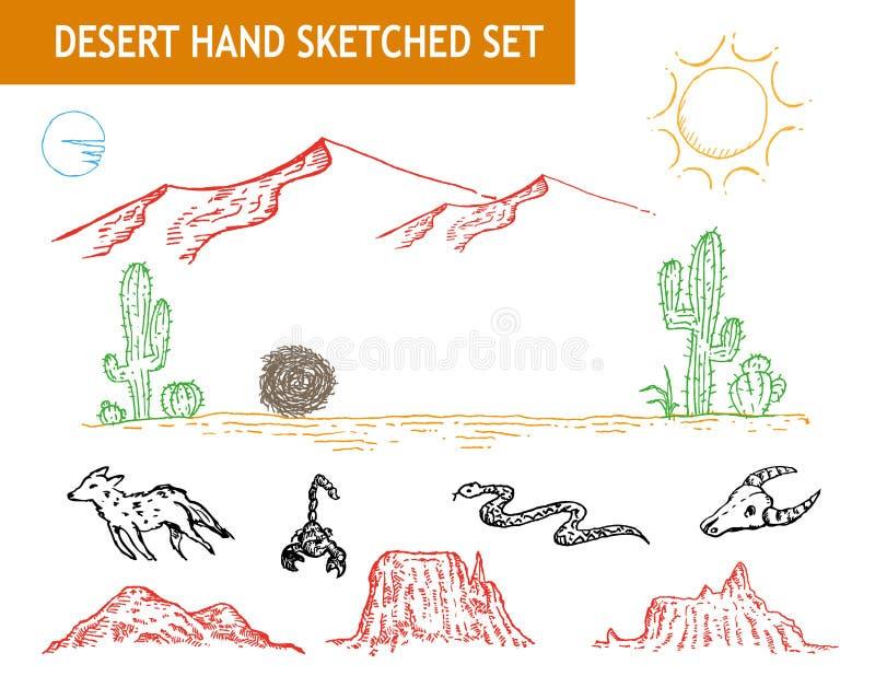 Η δυτική έρημος doodle έθεσε Τέχνη συνδετήρων Editable ελεύθερη απεικόνιση δικαιώματος