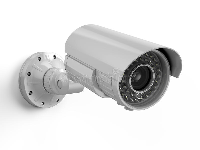 η υψηλή απεικόνιση CCTV φωτογραφικών μηχανών ανασκόπησης απομόνωσε το ποιοτικό λευκό ασφάλεια αφθονίας φωτογραφικών μηχανών copys διανυσματική απεικόνιση