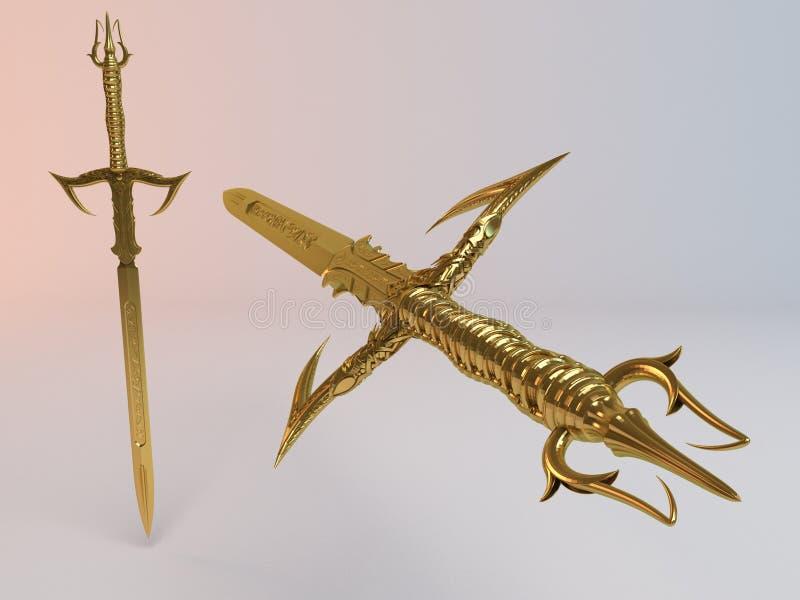 Η φαντασία απαρίθμησε το τρισδιάστατο χρυσό ξίφος ελεύθερη απεικόνιση δικαιώματος