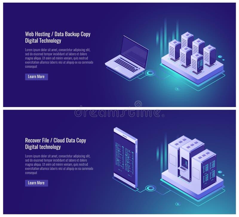 Η φιλοξενία Ιστού, εφεδρικό αντίγραφο στοιχείων, ανακτεί την έννοια αρχείων, αποθήκευση στοιχείων σύννεφων, ψηφιακή τεχνολογία, b διανυσματική απεικόνιση