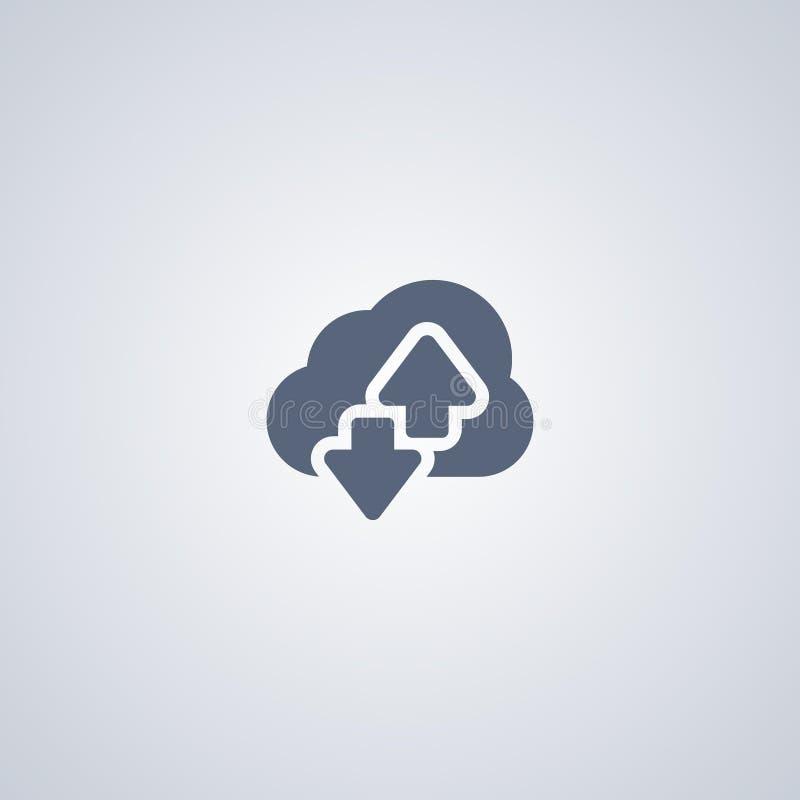 Η φιλοξενία, σύννεφο μεταφορτώνει, διανυσματικό καλύτερο επίπεδο εικονίδιο απεικόνιση αποθεμάτων
