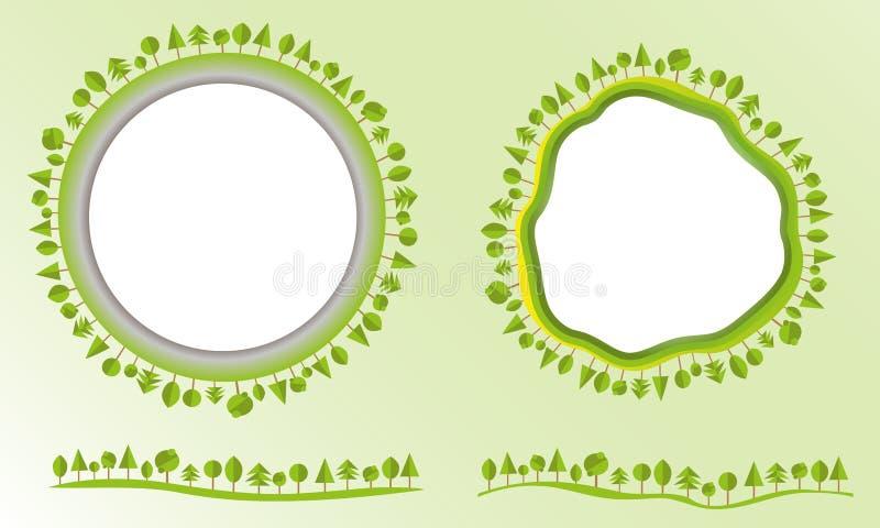 Η φιλική σφαίρα Eco με τα δέντρα ονομάζει τα στοιχεία σχεδίου τη σύγχρονη επίπεδη επιχείρηση ύφους διανυσματική απεικόνιση ελεύθερη απεικόνιση δικαιώματος