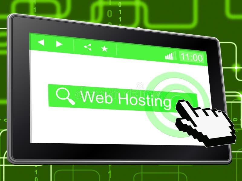 Η φιλοξενία Ιστού δείχνει Διαδίκτυο Webhosting και κεντρικός υπολογιστής διανυσματική απεικόνιση