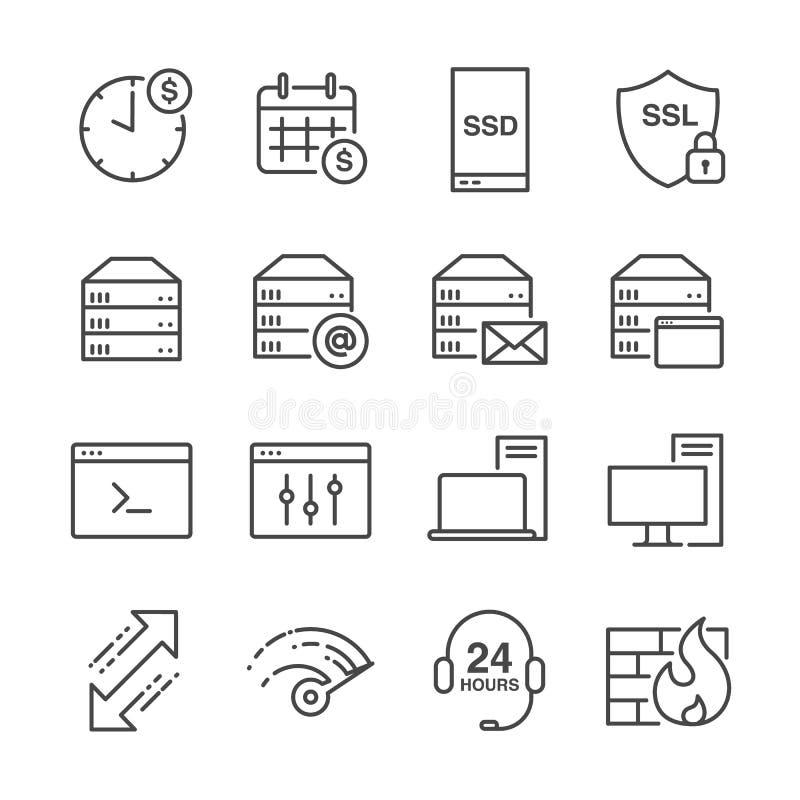 Η φιλοξενία και σχετικά με τα τον κεντρικό υπολογιστή εικονίδια γραμμών θέτουν 1 ελεύθερη απεικόνιση δικαιώματος