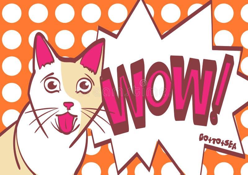 Η φοβησμένη, ανησυχημένη, έκπληκτη γάτα, διανυσματικό χέρι σύρει την απεικόνιση στο λαϊκό ύφος τέχνης Eps 10 στα στρώματα για την ελεύθερη απεικόνιση δικαιώματος
