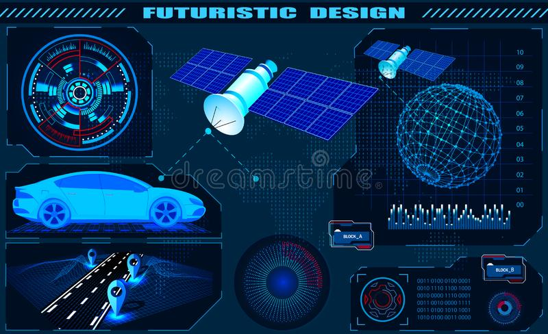 Η φουτουριστική γραφική διεπαφή, δορυφορική ναυσιπλοΐα ΠΣΤ αυτοκινήτων, hud σχεδιάζει, ολόγραμμα σφαιρών r ελεύθερη απεικόνιση δικαιώματος