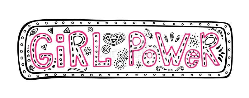 Η φράση χέρι-εγγραφής δύναμης κοριτσιών στο πλαίσιο, εμπνευσμένο απόσπασμα, χρωμάτισε τη γραφική απεικόνιση στο ύφος doodle, κίνη διανυσματική απεικόνιση