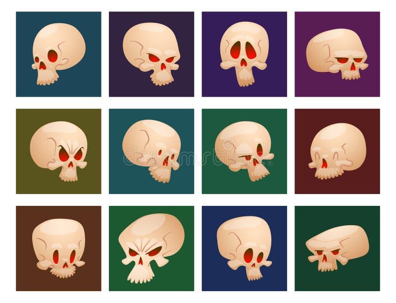 Η φρίκη καρτών αποκριών ανθρώπινου προσώπου κόκκαλων κρανίων crossbones φοβάται τη τρομακτική διανυσματική απεικόνιση που απομονώ διανυσματική απεικόνιση