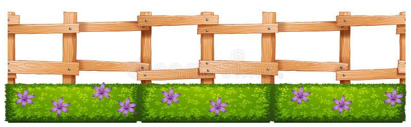 η φραγή ανθίζει ξύλινο διανυσματική απεικόνιση