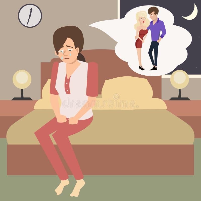 Η φωνάζοντας γυναίκα στην κρεβατοκάμαρα φαντάζεται το διάνυσμα μοιχείας ελεύθερη απεικόνιση δικαιώματος