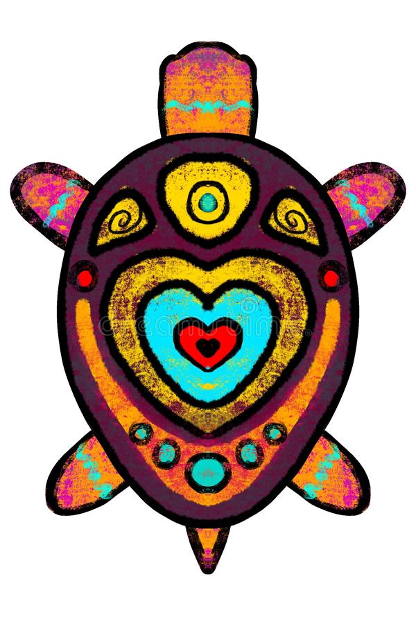 Η φωτεινή πολύχρωμη χελώνα, α χρωματισμένος στην αφρικανική απεικόνιση ύφους ελεύθερη απεικόνιση δικαιώματος