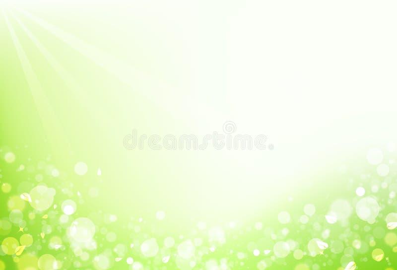 Η φύση, η διασπορά φύλλων με το φρέσκο αέρα φυσαλίδων θαμπάδων και το αστέρι λάμπουν s ελεύθερη απεικόνιση δικαιώματος