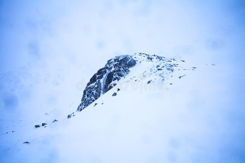 Η φύση των υψηλών βουνών στη χιονοθύελλα στοκ φωτογραφίες