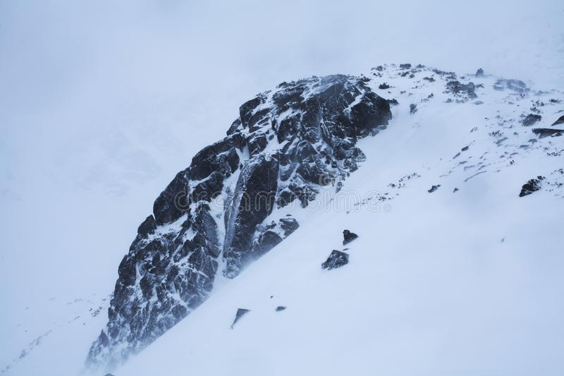 Η φύση των υψηλών βουνών στη χιονοθύελλα στοκ εικόνες με δικαίωμα ελεύθερης χρήσης