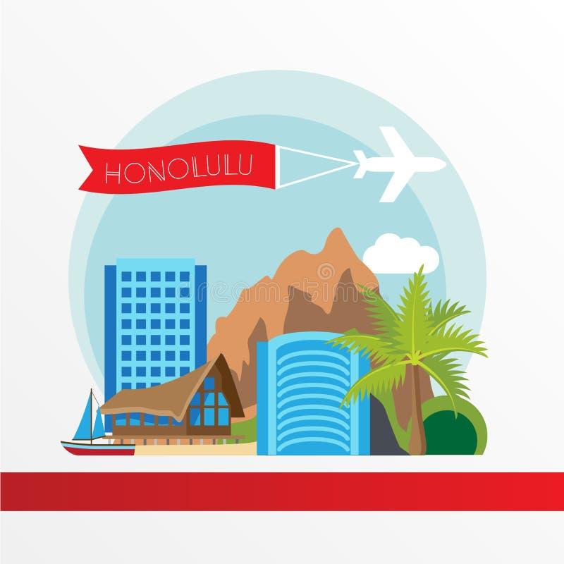 Η Χαβάη απαρίθμησε τη σκιαγραφία Καθιερώνουσα τη μόδα διανυσματική απεικόνιση, επίπεδο ύφος απεικόνιση αποθεμάτων