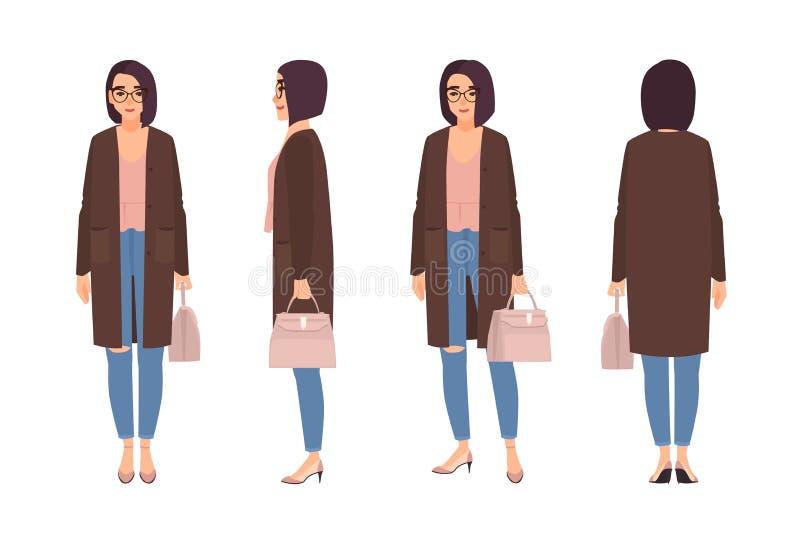 Η χαμογελώντας γυναίκα έντυσε στα κομψά περιστασιακά ενδύματα Όμορφο κορίτσι που φορά τα τζιν και τη ζακέτα και που κρατά την τσά διανυσματική απεικόνιση