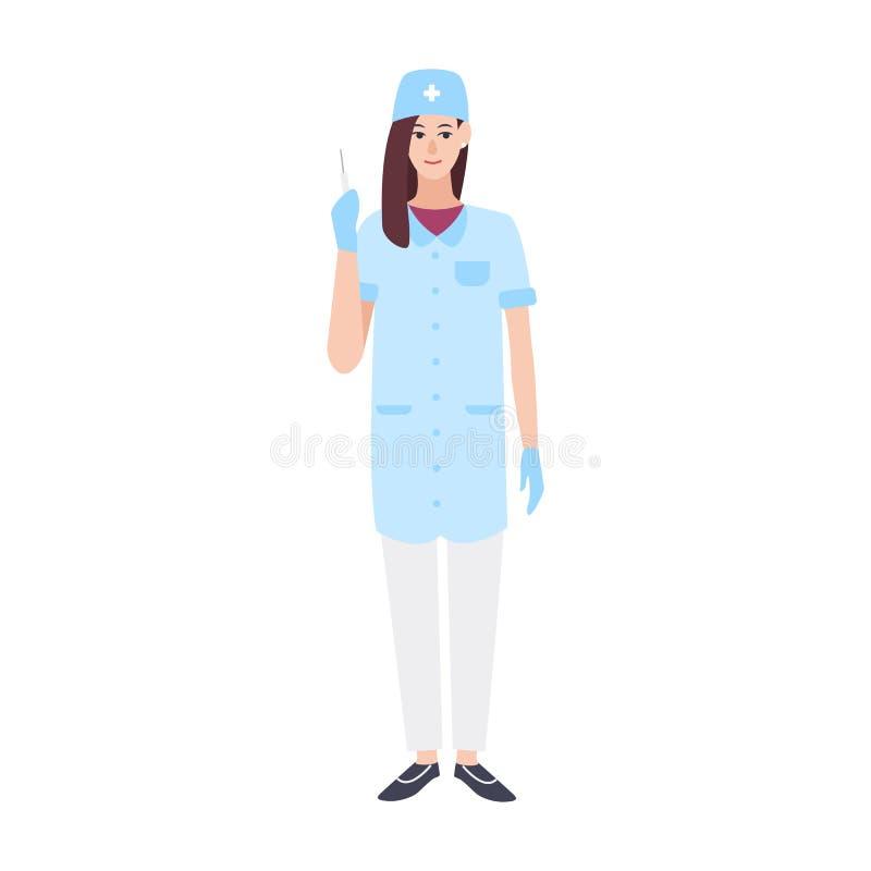 Η χαμογελώντας θηλυκή φθορά γιατρών ή νοσοκόμων τρίβει και κράτημα της σύριγγας Νέος γιατρός ή χειρούργος γυναικών που ντύνεται σ ελεύθερη απεικόνιση δικαιώματος