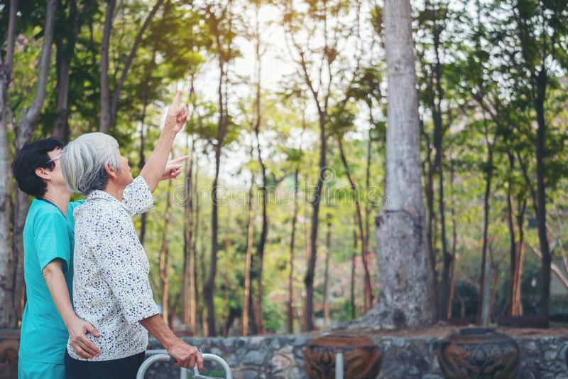 Η χαμογελώντας caregiver ανώτερη νοσοκόμα παίρνει την προσοχή ένας ανώτερος ασθενής στο wal στοκ φωτογραφία με δικαίωμα ελεύθερης χρήσης