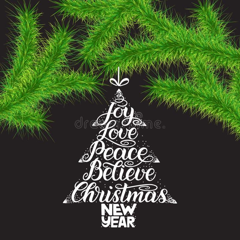 Η χαρά, αγάπη, ειρήνη, θεωρεί, Χριστούγεννα, νέα γράφοντας ευχετήρια κάρτα έτους Πράσινοι κλάδοι δέντρων Χριστουγέννων και εγγραφ απεικόνιση αποθεμάτων