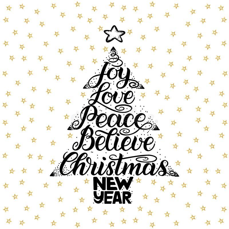 Η χαρά, αγάπη, ειρήνη, θεωρεί, Χριστούγεννα, νέο έτος Εγγραφή γραφής για τη ευχετήρια κάρτα, πρόσκληση, τυπωμένη ύλη, αφίσα Hol τ απεικόνιση αποθεμάτων