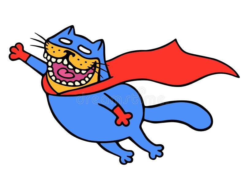 Η χαριτωμένη έξοχη γάτα σε ένα αδιάβροχο πετά για να σώσει τον κόσμο Απομονωμένη διανυσματική απεικόνιση διανυσματική απεικόνιση