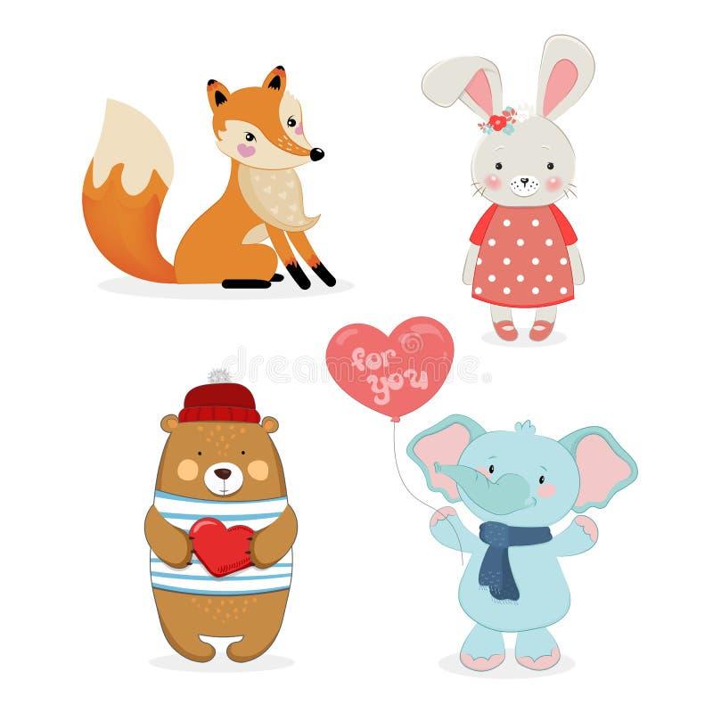 Η χαριτωμένη αλεπού, κουνέλι, αντέχει, αγόρια ελεφάντων και συρμένες χέρι διανυσματικές απεικονίσεις κινούμενων σχεδίων κοριτσιών διανυσματική απεικόνιση
