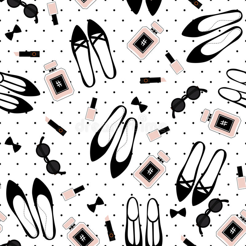 Η χαριτωμένη απεικόνιση μόδας με τα μαύρα παπούτσια, ρόδινο κραγιόν, στιλβωτική ουσία καρφιών, άρωμα, γυαλιά ηλίου στην Πόλκα δια ελεύθερη απεικόνιση δικαιώματος