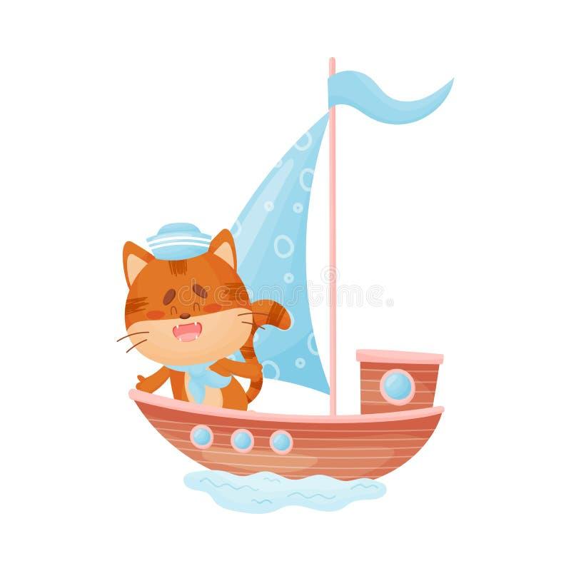 Η χαριτωμένη γάτα επιπλέει σε μια βάρκα με ένα ανοικτό μπλε πανί E διανυσματική απεικόνιση