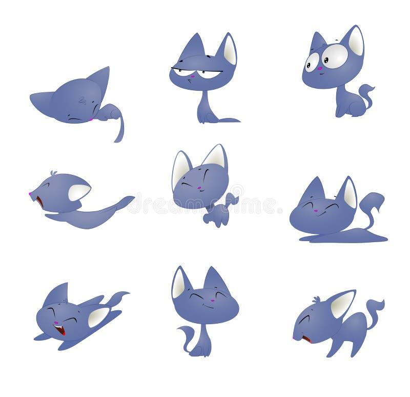Η χαριτωμένη γάτα κινούμενων σχεδίων σε διαφορετικό θέτει απεικόνιση αποθεμάτων