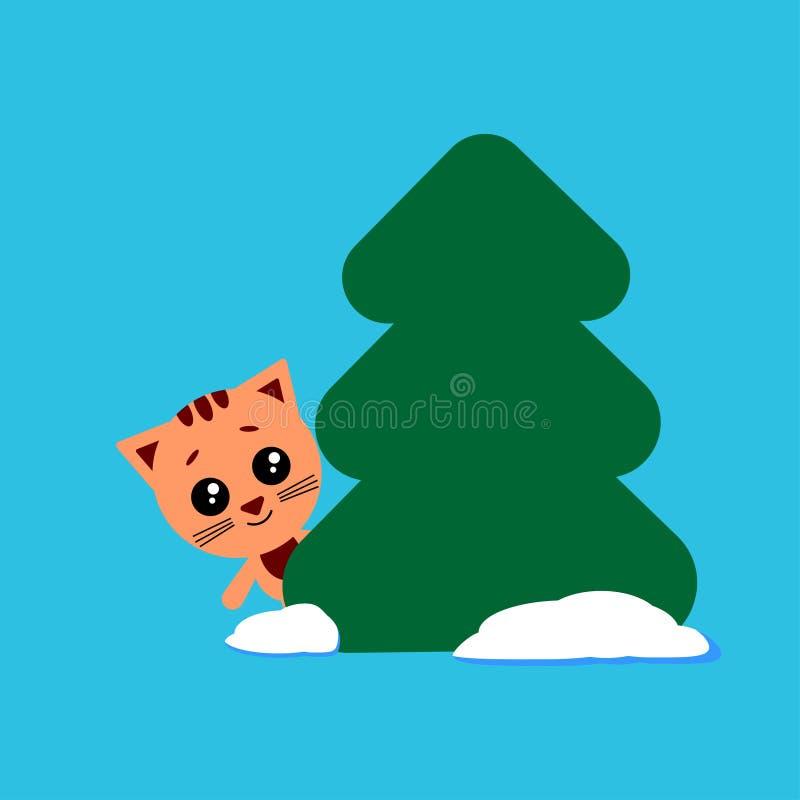 Η χαριτωμένη γάτα κοιτάζει έξω από πίσω από ένα δέντρο r r διανυσματική απεικόνιση