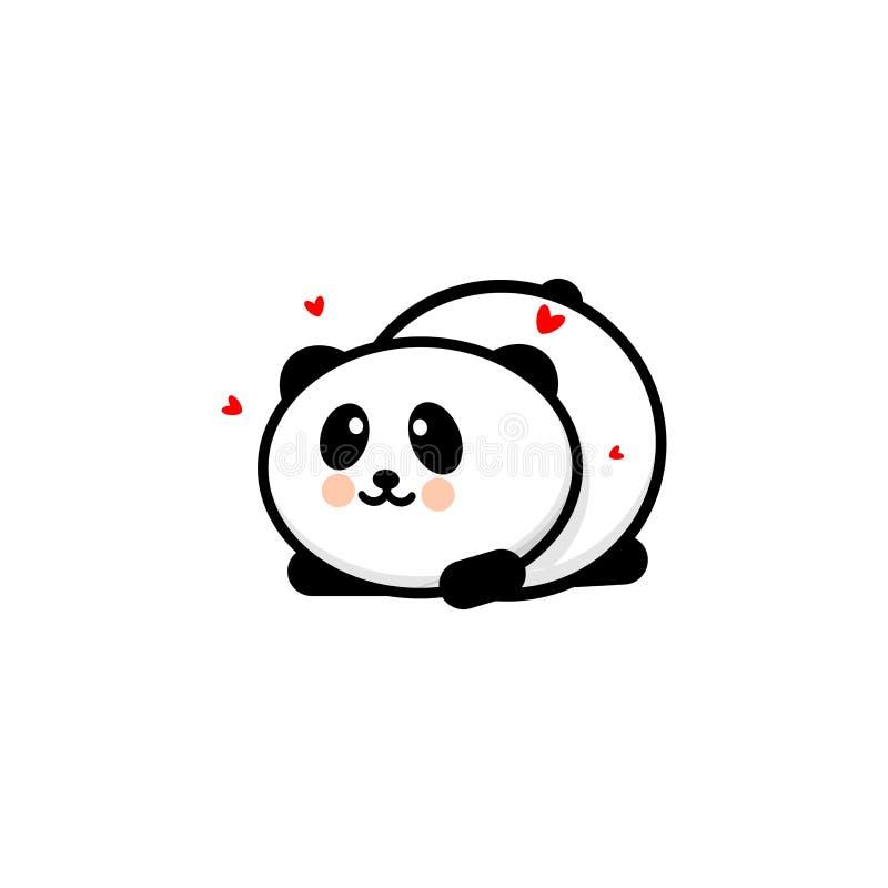 Η χαριτωμένη ερωτευμένη και παιγμένη διανυσματική απεικόνιση της Panda, μωρό αντέχει το λογότυπο, νέα τέχνη γραμμών σχεδίου, κινε απεικόνιση αποθεμάτων