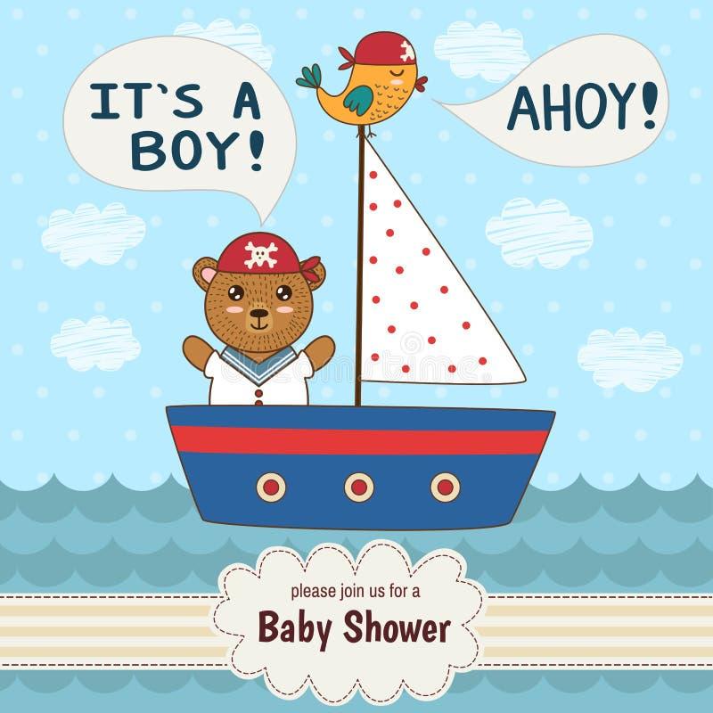 Η χαριτωμένη κάρτα πρόσκλησης ντους μωρών αυτό είναι αγόρι διανυσματική απεικόνιση