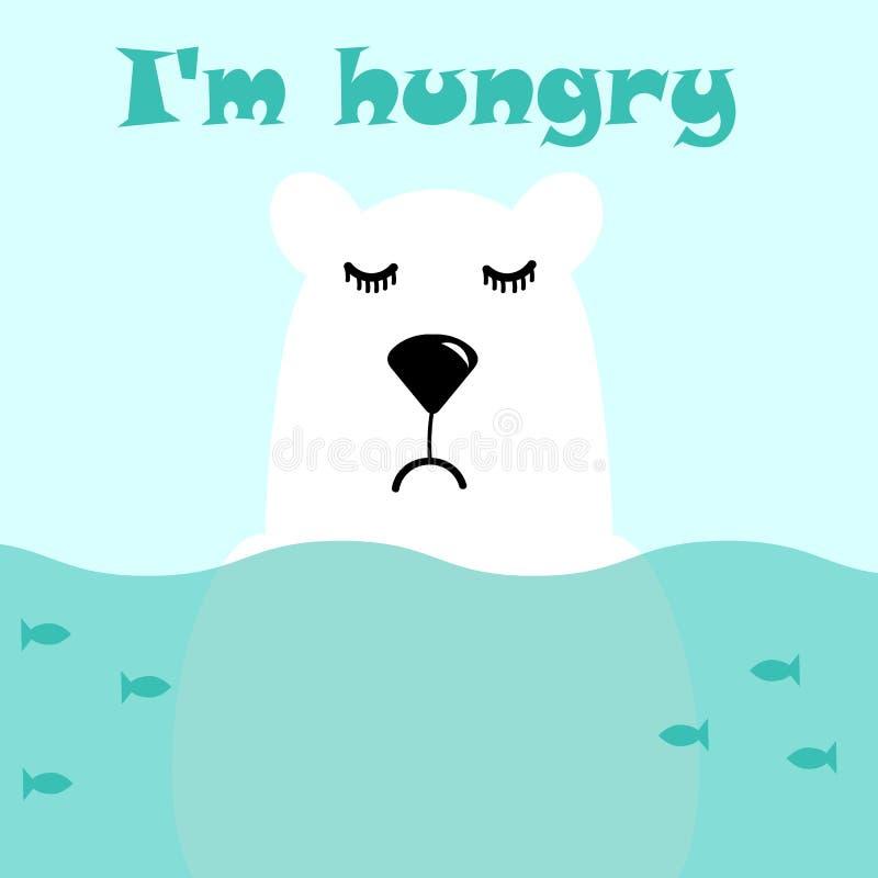 Η χαριτωμένη λευκιά πολική αρκούδα στέκεται στο νερό, τα ψάρια κολυμπούν γύρω από τον, είναι λυπημένος και πεινασμένος Διανυσματι απεικόνιση αποθεμάτων