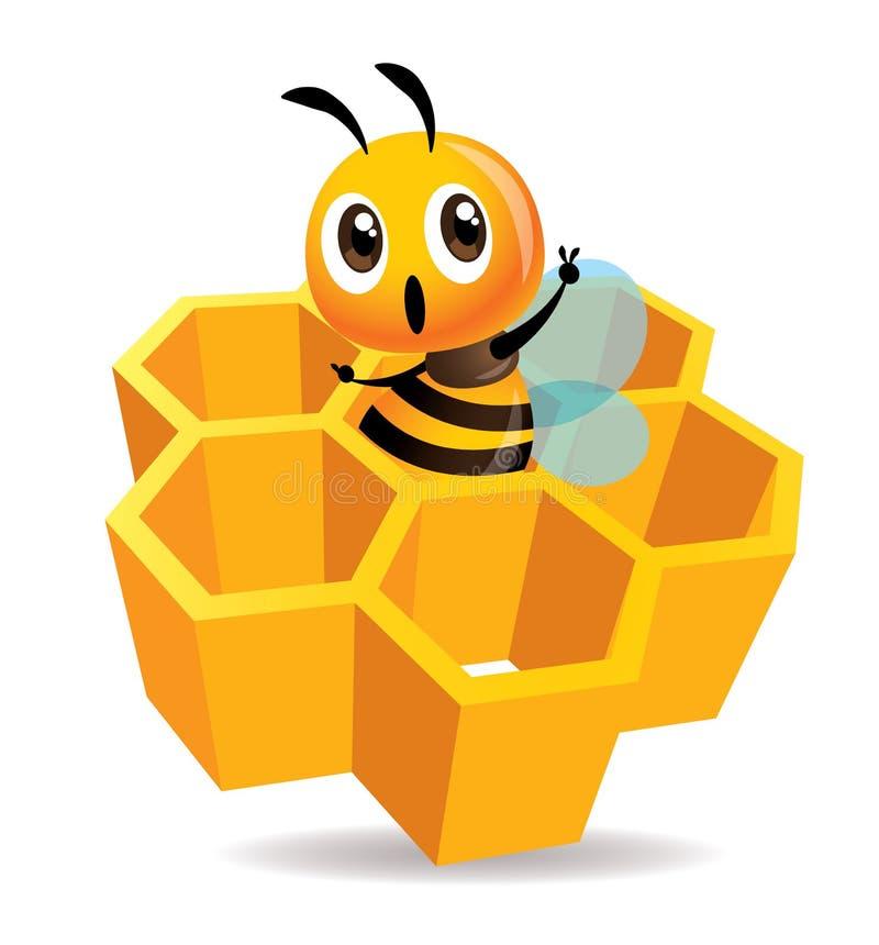 Η χαριτωμένη μέλισσα κινούμενων σχεδίων παρουσιάζει το σημάδι και παραμονή χεριών νίκης μέσα στο κύτταρο μελιού τρισδιάστατα κύττ ελεύθερη απεικόνιση δικαιώματος