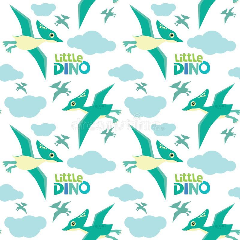 Η χαριτωμένη μικρή Dino Pterodactyl που πετά το άνευ ραφής σχέδιο που απομονώνεται στην άσπρη διανυσματική απεικόνιση απεικόνιση αποθεμάτων