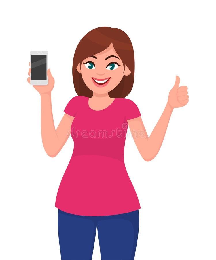 Η χαριτωμένη νέα γυναίκα που παρουσιάζουν smartphone και οι αντίχειρες υπογράφουν επάνω απεικόνιση αποθεμάτων